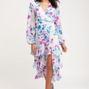 Lulus Floral Long Sleeves Midi Dress